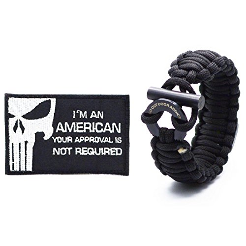 Go Outdoor Addict  Survival Paracord Bracelet With Compass  Fire Starter  Survival Kits And Saying Quote  I Am An American Your Approval Is Not Required  Military Velcro Patch Tactical