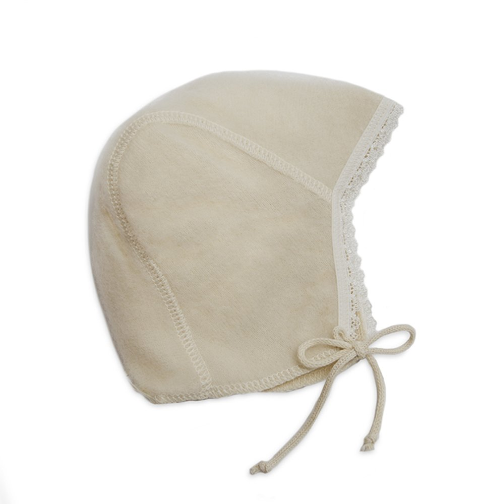 LANACARE Organic Wool Baby Cap with Lace, Natural White, size 62 (3-6 mo) by LANACare
