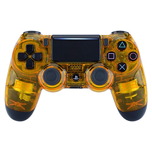 eXtremeRate Transparent Crystal Clear Yellow Front Housing Shell Faceplate Cover for Playstation 4 PS4 Slim PS4 Pro Controller (CUH-ZCT2 JDM-040 JDM-050 JDM-055)