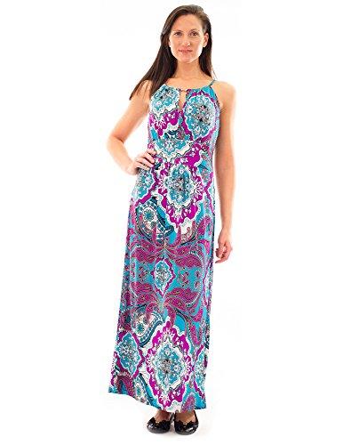 Animal Print Surplice Dress - Avanti Bottega Women's Sleeveless Paisley Print Spaghetti Maxi Dress M Purple