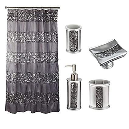 Popular Bath 5 Piece Sinatra Silver Shower Curtain And Resin Accessory Set