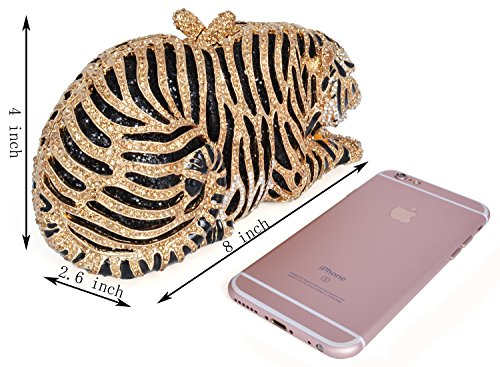 mossmon Luxury Crystal Clutches For Women Tiger Evening Bag (gold/style B) by Mossmon (Image #4)