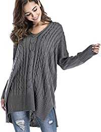 Women's Long Sleeve Pullover Top V Neck Knitted Sweater Oversize Sweaters With Side Slits