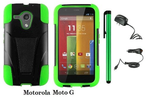 Motorola MOTO G (VERIZON, BOOSTMOBILE) Premium T-stand Protector Hard Case Cover + Travel (Wall) Charger & Car Charger + 1 of New Metal Stylus Touch Screen Pen (GREEN / BLACK) - First Motorola Flip Phone