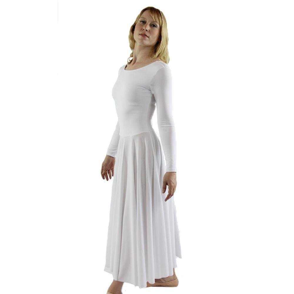 Danzcue Womens Praise Loose Fit Full Length Long Sleeve Dance Dress, White, Small by Danzcue