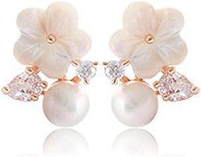 Fashion Zircon Fleur METAL perles bracelets Rose Blanc Plaqué Or Fête