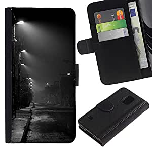 Billetera de Cuero Caso Titular de la tarjeta Carcasa Funda para Samsung Galaxy S5 V SM-G900 / Night Road City Rain Fall Autumn / STRONG