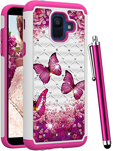 (CAIYUNL for Samsung Galaxy A6 2018 Case for Women Girls Luxury Bling Glitter Studded Rhinestone Dual Layer Shockproof Protective Hard PC &Soft TPU Phone Case Heavy Duty Cover (Hot Pink Butterfly))