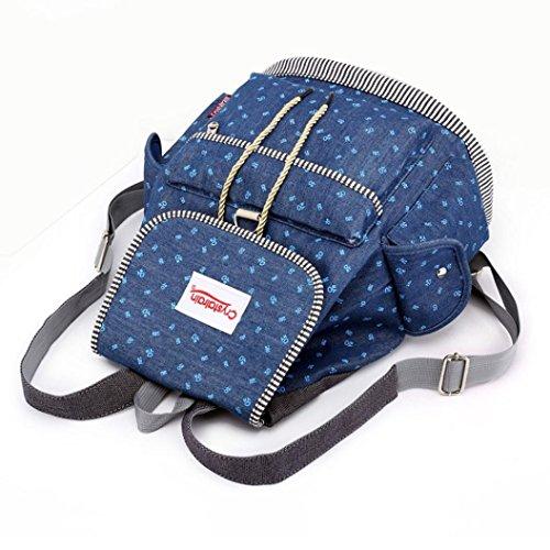 Sunshinehomely Women Girls Denim Drawstring Backpack Leisure Student Schoolbag Large Capacity Double Shoulder Travel Bag by Sunshinehomely (Image #6)