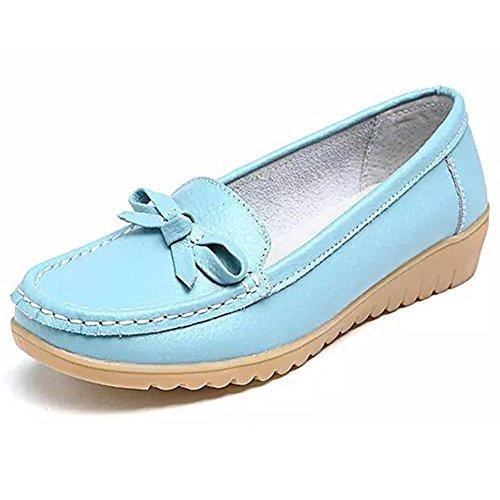 Damen Fahren Halbschuhe Casual Leder Loafers Flatschuhe Low-top Schuhe Erbsenschuhe Slippers Mokassin Stil2-Sky Blue