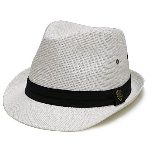 White Toyo Straw (City Hunter Pms500 Solid Paper Toyo Trilby Straw Fedora Hats White L/XL )