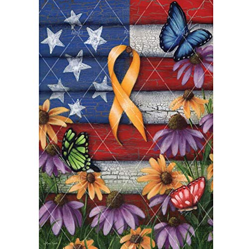 Embroidery Ribbon Free - CNIAO 5D DIY Diamond Embroidery Home of The Free Yellow Ribbon Garden Flag Patriotic Troops Floral Full Square/Round Garden decoration-60x90cm