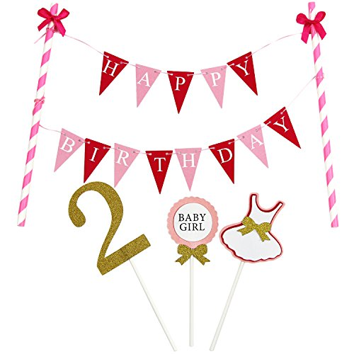 KUNGYO Mini Happy Birthday Cake Bunting Banner Cake Topper Garland - Handmade Pennant Flags 2nd 2 Years Old Baby Girl Birthday Party Cake Decoration (Mini Old Pennant)