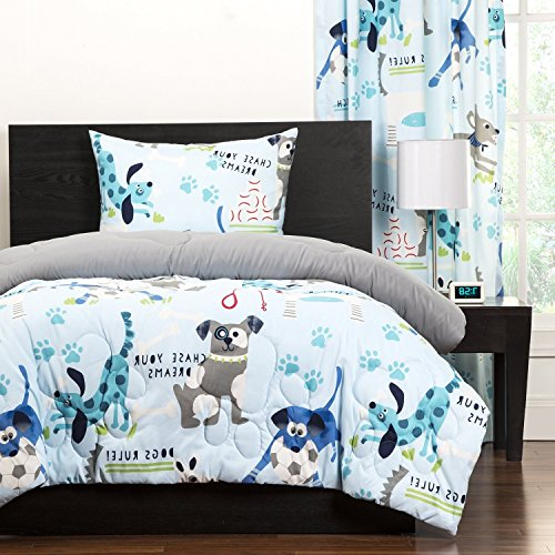 3pc Kids Puppies Dogs Comforter Full Queen, Cute Adorable Childrens Playful Bedding, Puppy Love Little Doggies Blue Teal White by UNK