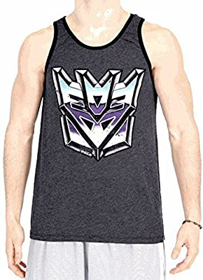 Transformers Vintage Distressed Decepticons Logo Charcoal Black Tank Top
