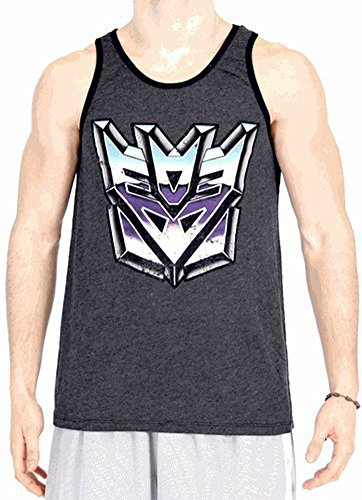 Transformers Vintage Distressed Decepticons Logo Charcoal Black Tank Top (Adult Medium)
