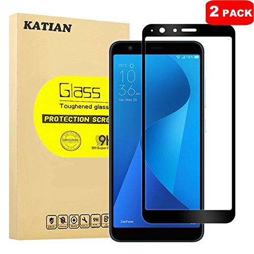 [2 Pack] ASUS ZenFone Max Plus (M1) ZB570TL Screen Protector, KATIAN HD Full Coverage Protector[Anti-Scratch] [Anti-Fingerprint] [No-Bubble], 9H Hardness Tempered Glass Screen Film [Black]