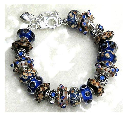 Royal Blue Amber Black Glass Bead Lampwork Crystal European Bracelet (Amber Murano Crystal)
