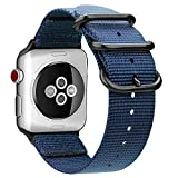 Fintie Band for Apple Watch 44mm 42mm, Lightweight Breathable Woven Nylon Sport Loop Wrist Strap with Metal Buckle Compatible with Apple Watch Series 4 Series 3 Series 2 Series 1 - Navy