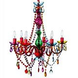 Cheap The Original Gypsy Color 6 Light Large Gypsy Chandelier H26″ W22″, Red Metal Frame with Multi Color Acrylic Crystals