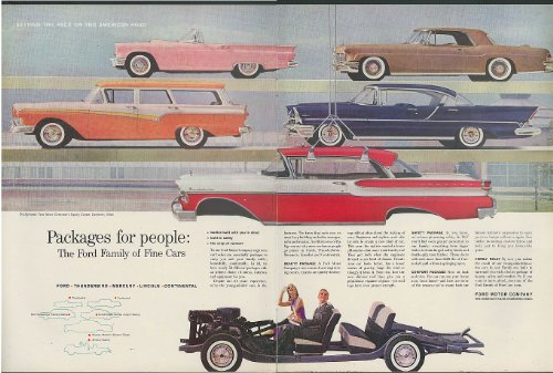 (Packages for People Ford Thunderbird Mercury Lincoln Continental ad 1957)