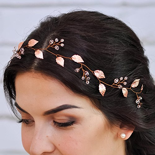 (Kercisbeauty Rose Gold Wedding Headband with Crystal and Leaf Headpiece for Bride Bridesmaid Prom Hair Accessory)