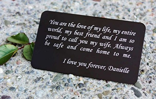 Engraved Card (Personalized Aluminum Wallet Love Note Insert, Custom Engraved Wallet Card Insert in Your Choice of Fonts, GFT127BK - Father's Day Gift, Grooms Gift for Him, Anniversary Gift, Boyfriend Gift)