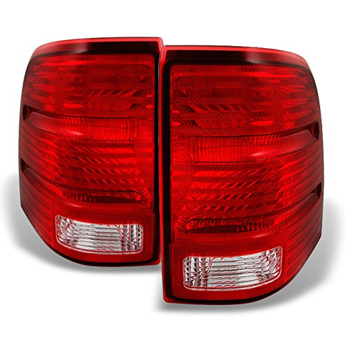 (For Ford Explorer SUV Red Clear Lens Rear Tail Light Taillamps Brake Lamps Replacement Pair Left + Right)
