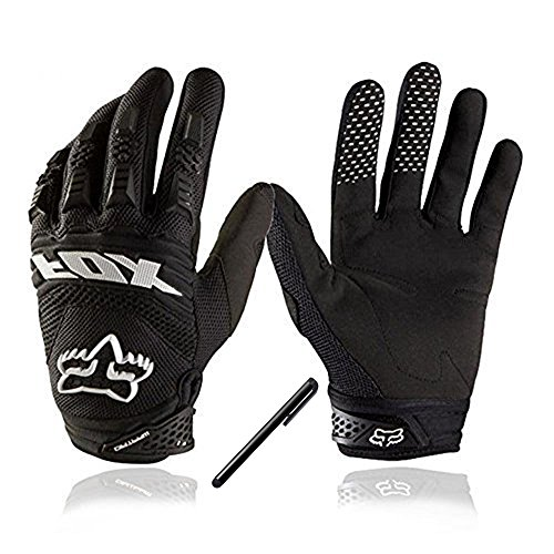 Bicycling Gloves, [2016 with Free Stylus Pen] Full Finger Bike Gloves Light Silicone Get pad Motorcycle Gloves Riding Gloves for Men and Women (VO-BIKEGLOVE-BK-L-US) (Pen Velcro)