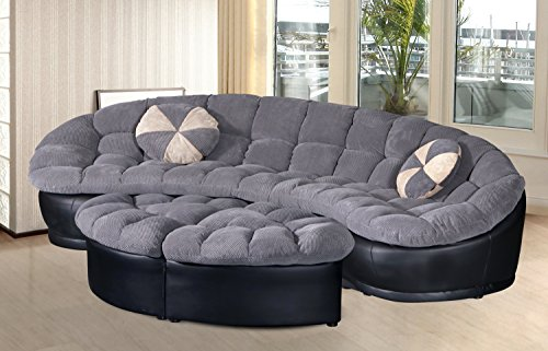 U.S. Livings Marseilles 4-pc Plushy Chenille Sectional Sofa with Ottoman Microfiber Fabric - Plush Sectional Sofa Set