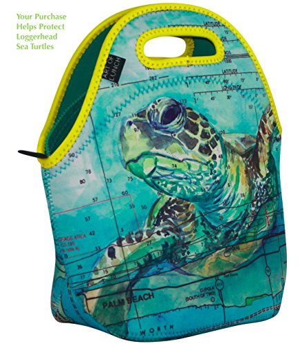 ART OF LUNCH Reusable Insulated Neoprene Lunch Bag for Women and Kids for Work and School - By Carly Mejeur (USA) - A Portion of Profits go to The Loggerhead Marine Life Center in Florida - Sea Turtle