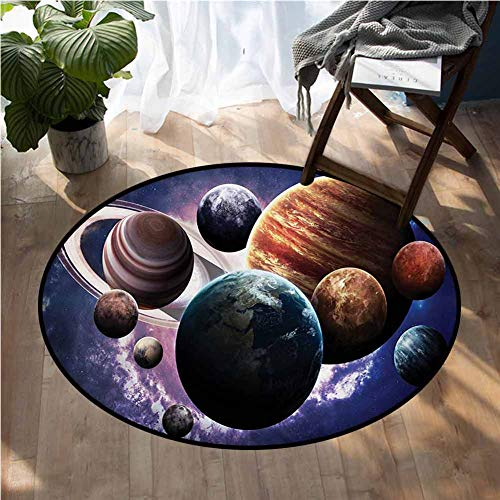 Space Truck mats Solar System Planets All Together in Space Mercury Jupiter Globe Saturn Universe Round Area Rugs Floor Mat D48 Inch (Jupiter Furniture Stores)