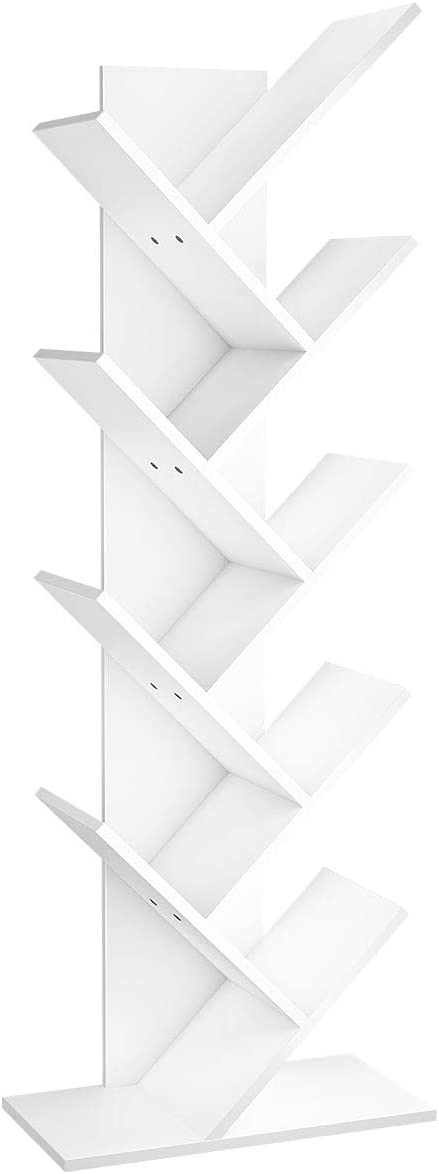 YITAHOME 9 Shelf Tree Bookshelf, Floor Standing Bookcase,Book Rack, Storage Rack Shelves in Living Room/Home/Office, Books Holder Organizer for Books/Movies - White