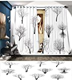 Littletonhome Forest Thermal Insulating Blackout Curtain Spooky Horror Movie Themed Branches in the Forest Trees Nature Artwork Print Patterned Drape For Glass Door Black and White