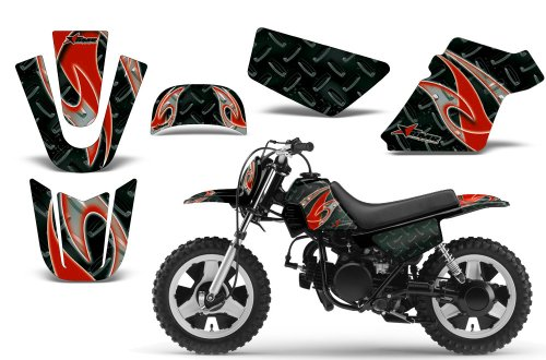 Tribal Flames-AMRRACING MX Graphics decal kit fits Yamaha PW50 All years-Red-Black (Flame Tribal Graphics Red)