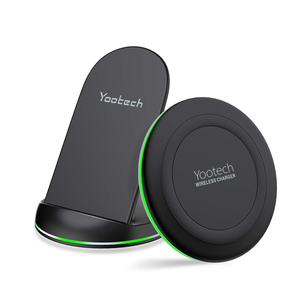 Yootech Wireless Charging Bundle, [2 Pack] Qi-Certified Wireless Charging Pad Stand, Compatible with iPhone Xs Max/XR/XS/X/ 8/Plus/Galaxy S10/S10 Plus/S10E/S9 and More (AC Adapter Not Included)