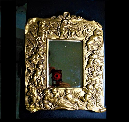 13 Baroque Cherubs Gold Gilted Wall Mirror, Heavy Gold Leaf Vintage Loving Winged Cherub, Eros, God of Love, Aphrodite 11'' Mirror by EMENOW