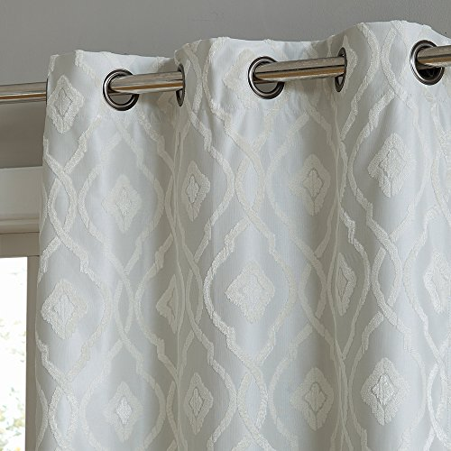 HLC.ME Trellis Flocked 100% Blackout Thermal Window Curtain Grommet Panels - Energy Efficient, Complete Darkness, Noise Reducing - Great for Living Rooms & Bedrooms - Set of 2 (37