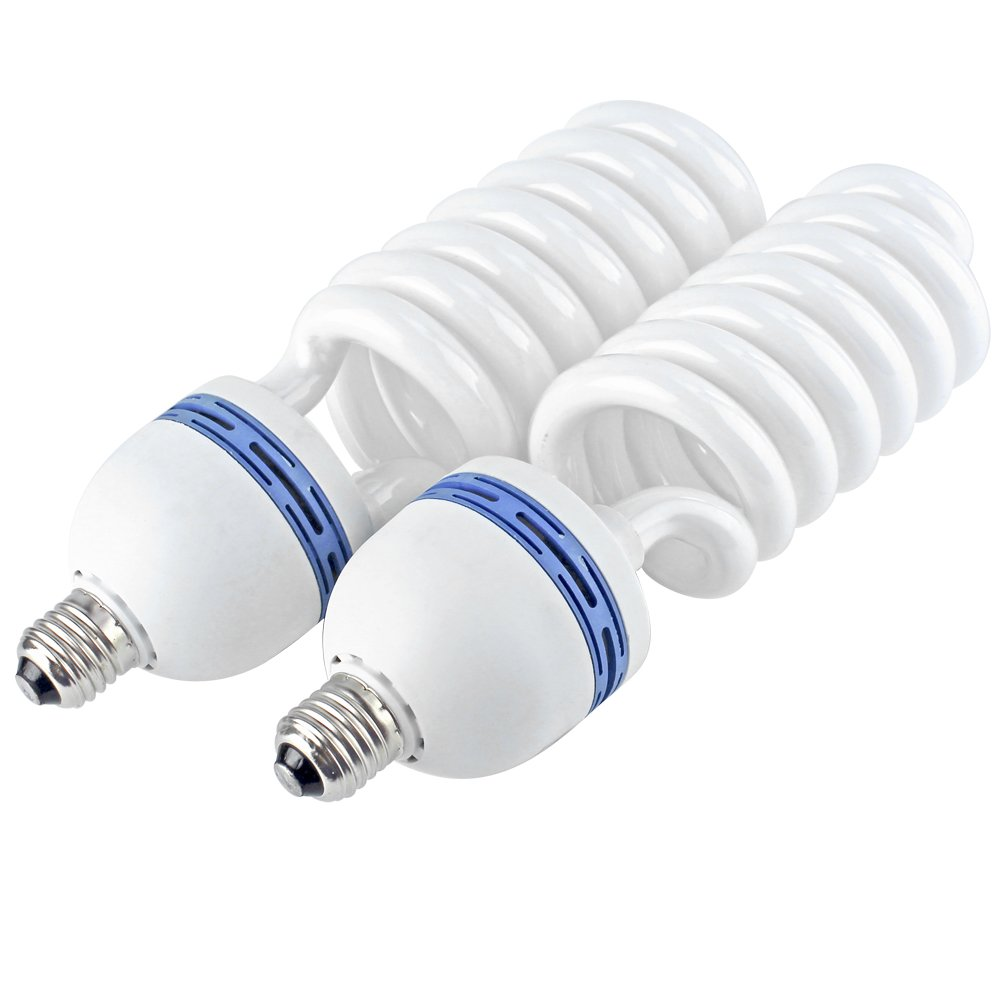 2x Photography Daylight White E27 Lighting Lamp Bulbs 80W 5500k a ...