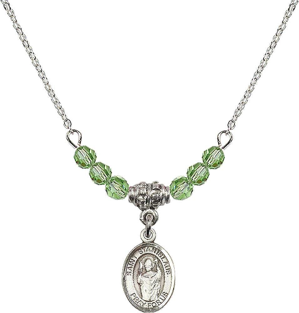Bonyak Jewelry 18 Inch Rhodium Plated Necklace w// 4mm Green August Birth Month Stone Beads and Saint Stanislaus