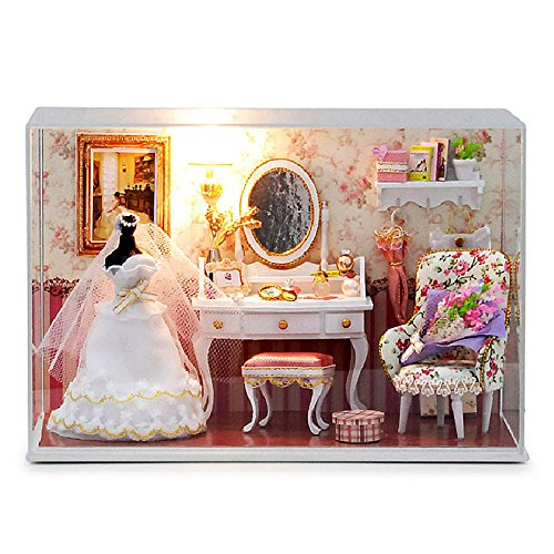 Handmade Furniture Doll - Cuteroom Dollhouse Miniature DIY Dolls House Room Kit with Furniture+Cover Handmade gift Toy Love you forever(1:24 scale)