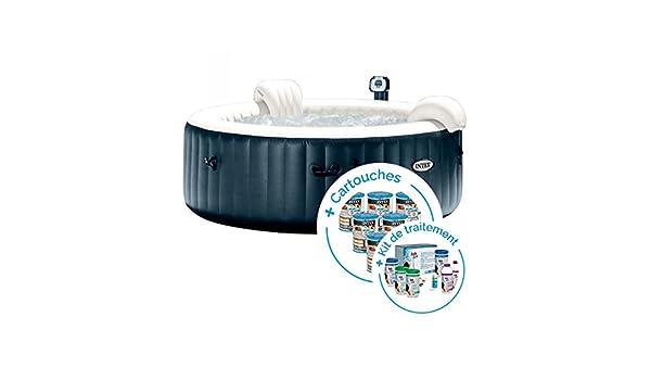INTEX SPA Hinchable PureSpa Plus Burbujas 4 plazas + 12 Cartuchos ...