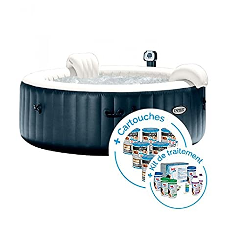 INTEX SPA Hinchable PureSpa Plus Burbujas 4 plazas + 12 Cartuchos ...