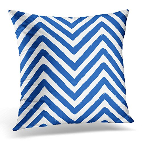 Navy Blue Chalk Stripe - UPOOS Throw Pillow Cover Ethnic Chevron Grunge Geometric for Furniture Zigzag Unusual From Brush Strokes Navy Blue and White Chalk Decorative Pillow Case Home Decor Square 16x16 Inches Pillowcase