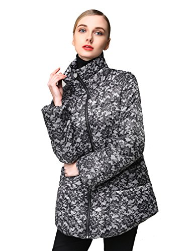 Hoffen Women's Casual Padded Graphic Down Coat (Large) by HOFFEN