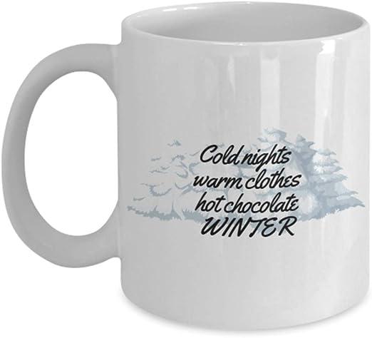com winter quotes cold nights coffee mug kitchen dining