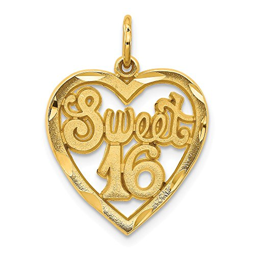 14k Yellow Gold Sweet 16 Heart Pendant Sixteenth Birthday Charm Love Fashion