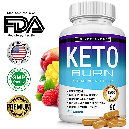 Lux Supplement Keto Burn Pills Ketosis Weight Loss- 1200 Mg Ultra Advanced Natural Ketogenic Fat Burner Using Ketone Diet, Boost Energy Focus & Metabolism Appetite Suppressant, Men Women 60 Capsules (Lose 20lbs In One Month Diet Plan)
