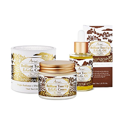 Ariul Organic Egg Yolk Oil Cream Bundle, Brilliant Tone Up E.G.G. – Egg Yolk Lecithin Vitamin E Night Cream Oil to Reduce Blemishes, Brighten, Hydrate, Repair and Protect
