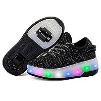 edv0d2v266 LED Light Up Roller Skate Shoes Double Wheel Flashing Sneakers for Boys Girls Kids(Black 2 Wheel 2.5 M US Little Kid)
